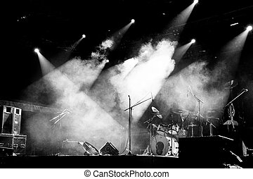 Stage in Lights - Black and White - A concert stage with...