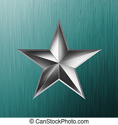 illustration of a silver star on steel. EPS 8