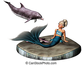 little mermaid - a cute mermaid and a dolphin - isolated on...