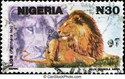 Lion - Panthera leo - NIGERIA- CIRCA 1993: A stamp printed...