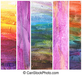 Beautiful watercolor background in soft purple, yellow and blue