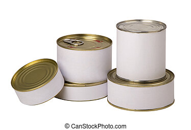 food tin cans - group of food tin cans with empty white...