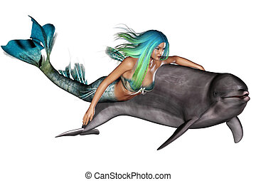 mermaid - a mermaid swim with her dolphin - isolated on...