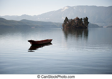 boat in lugu lake - Lugu Lake Cave called as Lu Zi, also...