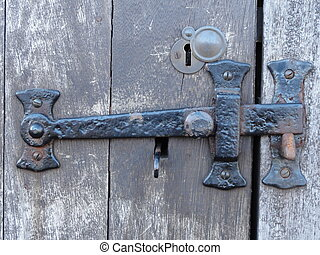 Old latch - Close up of an old latch