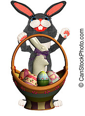 Easter rabbit - a cute Easter rabbit with his basket -...