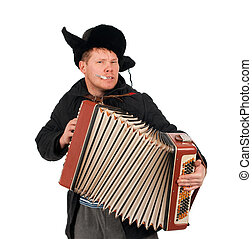 Russian man with accordion,red-neck.isolated on white...