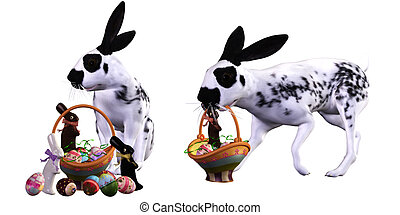 Easter rabbit - a sweet Easter rabbit - isolated on white