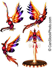 Phoenix - a powerful phoenix pack - isolated on white