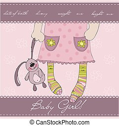 Pink Baby girl arrival announcement card with plush rabbit