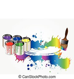Paints and brush. Vector