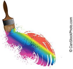 Rainbow paintbrush, vector illustration