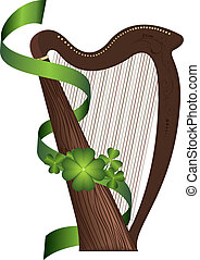 St Patricks Day harp - Saint Patricks Day wooden harp