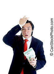 Upset Asian Man Suit Tearing Stock Certificate - Asian man...