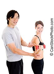 Asian Man Instructing Woman Working Out, Isolated