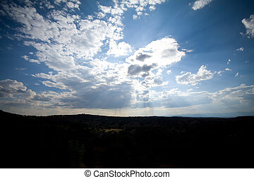 Sky Clouds Sunbeams Santa Fe New Mexico Wide Angle -...