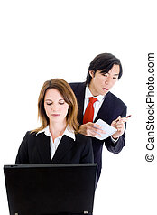 Business Man Cheating Stealing Shoulder Surfing Woman -...