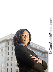 Tough African American Businesswoman Arms Crossed -...