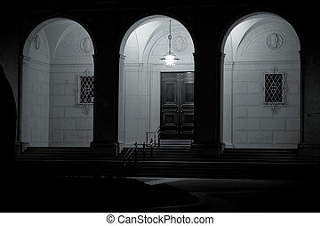 Building Arches Groin Vaults at Night Black White - Arches...