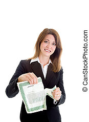 Worried Woman Tearing Stock Certificate, Isolated -...