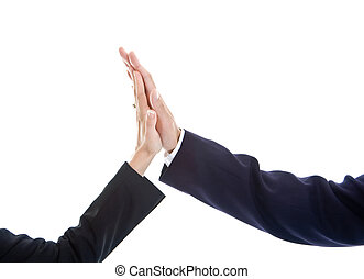 Business Man Woman Hand Giving High Five Isolated - Close-up...