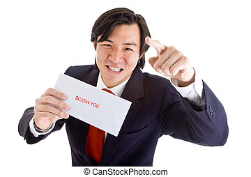 Angry Asian Businessman Pointing Camera, Screw You -...