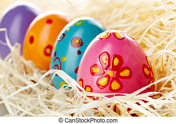 Easter eggs - Row of colored and decorated Easter eggs