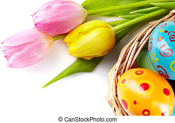 Happy Easter - Composition of tulip bouquet with basket of...