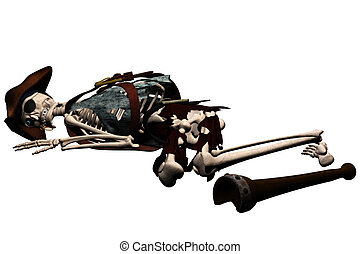 skeleton pirate - a evil skeleton pirate - isolated on white