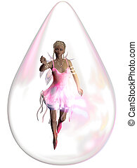 raindrop - a fairy in a raindrop - isolated on white
