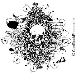 Vector skull with ornaments