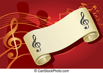 Notes music background, vector illustration