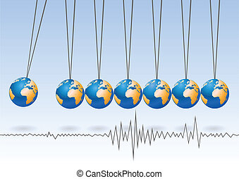 Balancing earth ball, abstract vector background