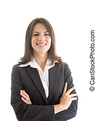 Confident Business Woman, Arms Crossed, Isolated
