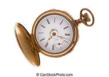 Old Fashioned Brass Pocket Watch Isolated White - Gold...