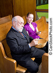 Senior White Man Young Woman Donating Money Church