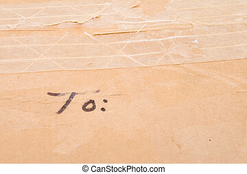 Old Grungy Cardboard Box Blank To Address Space