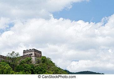 Mutianyu Great Wall, Blue Sky, Near Beijing, China - Looking...