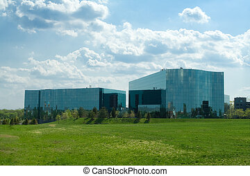 Ultra modern wavy glass office buildings in suburban Maryland, United States.