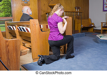 Caucasian Woman Kneeling Crossing Herself Church - White...