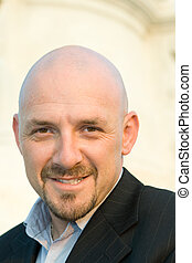 Smiling Caucasian Man Shaved Head Goatee Isolated - Happy...