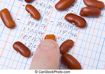 Finger Tip Kidney Beans on Ledger Book Accounting - Finger...
