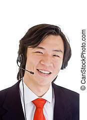 Asian Man Customer Service Representative Head Set - Happy...