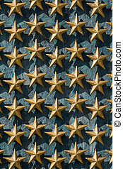Gold Stars on Wall National World War II Memorial - Gold...