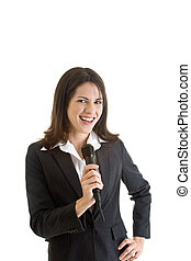 Smiling Business Woman Wireless Microphone Isolated