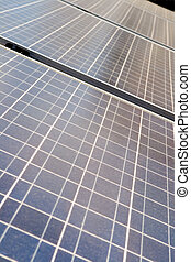 Diminishing Rows Blue Photovoltaic Solar Panels