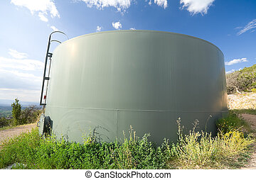 Water Tank Hillside Santa Fe New Mexico USA - Wide angle...