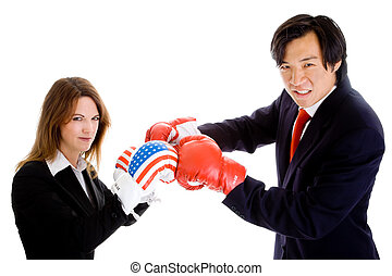 Asian Man White Woman Boxing Gloves Suit Flag