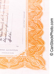 Close-up Corner US Stock Certificate - Close up of part of a...