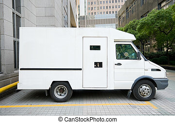 Armored Car Van Parked Driveway, Shanghai, China - Armored...